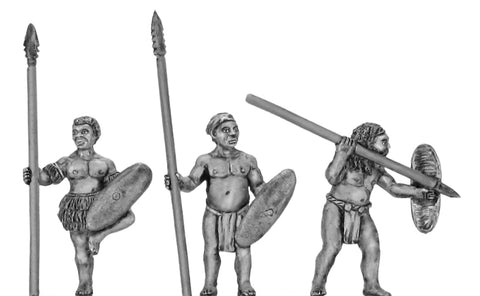 (100DEN003) Denisovan with spear & shield 3 variants