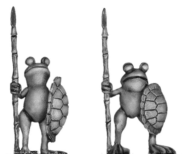 (100FRG08) Frog, with spear & turtle shell shield
