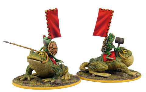 (100FRG22) Frog Samurai on toad mount, back banner, assorted weapons