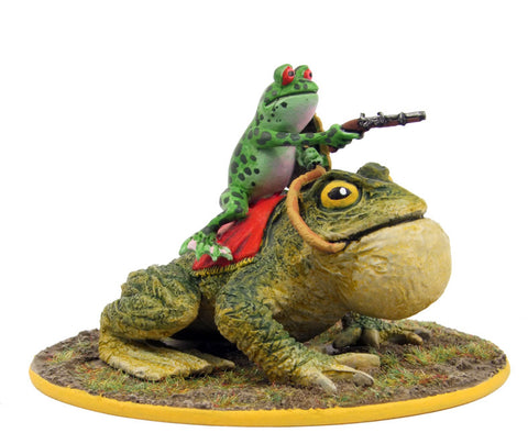 (100FRG25) Frog cavalryman on toad mount, with musket