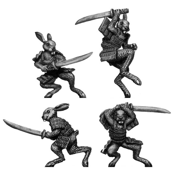 (100FRG51) Rabbit Samurai, with katana