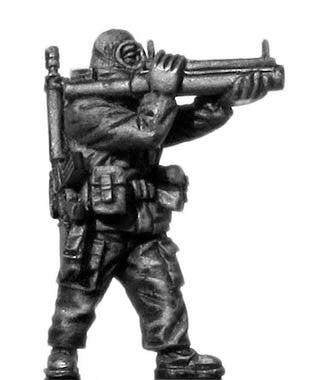 (100MOD153) 1980s US soldier,MOPP gear, LAW rocket launcher