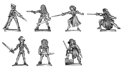 (100PIR09) Pirate lady, various weapons