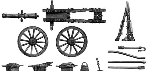 (100WFR101) French 8-pdr. gun, with equipment