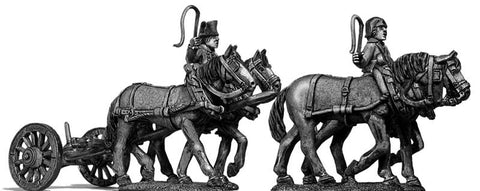 (100WFR122) Four horse limber, walking, two civilian drivers
