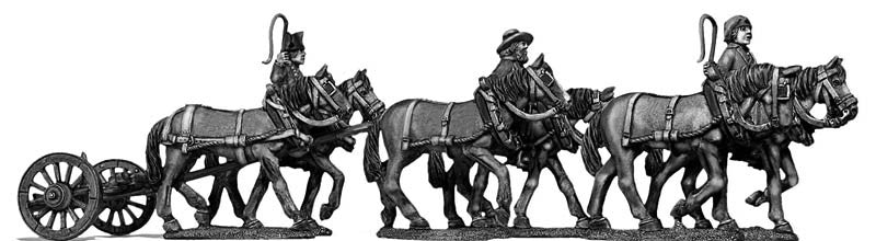 (100WFR124) Six horse limber, walking, 3 civilian drivers