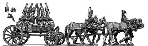(100WFR130) Four horse wurtz wagon, walking, two civilian drivers