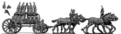 (100WFR131) Four horse wurtz wagon, cantering, two civilian drivers