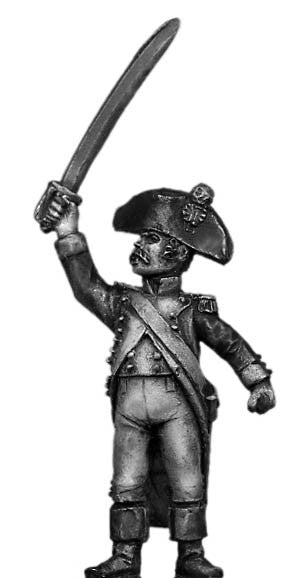 (100WFR048) Officer, bicorne, encouraging skirmishers
