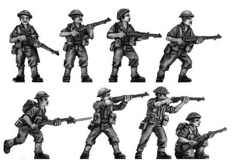 (100WWT061) Australian Infantry attacking, helmet, rifle, set of 8