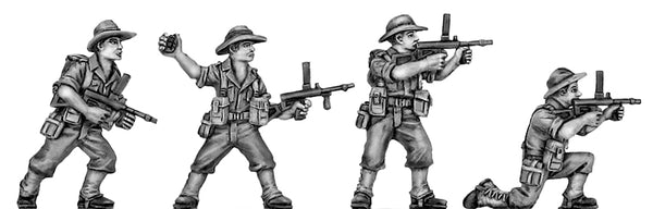 (100WWT062) Australian infantry attacking, slouch hat, Owen gun-set of 4