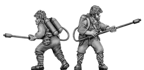 (100WWT112h) NEW Japanese with flame thrower, skrim helmet. 2 figure set