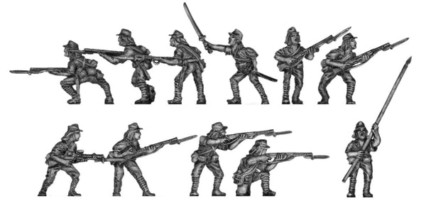 (200WWT30k) Infantry in kepis, with rifles & LMG