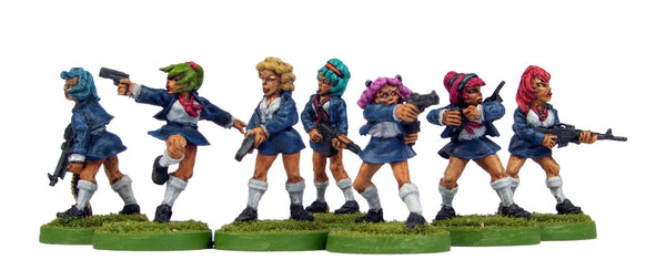 (100FAN04) Kung Fu School Girls with Guns-7 figure set