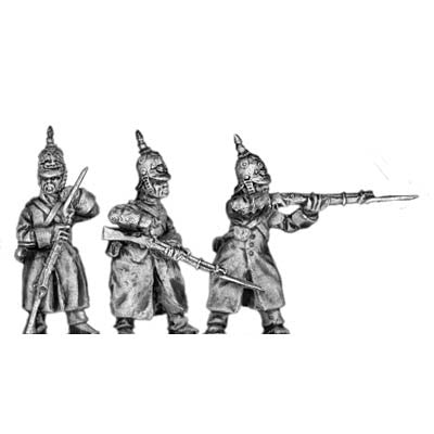 (300CMW052) Russian infantry in greatcoats & helmet, firing/loading