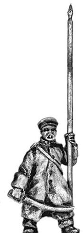 (300CMW076) Russian Infantry standard bearer in greatcoat & cap