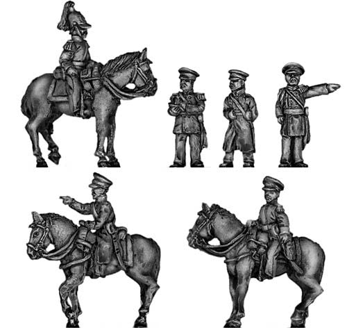 (300CMW079) Russian Staff Officer Set, 3 mounted, 3 dismounted