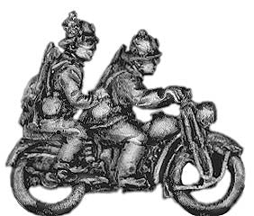 (300WWT50) Bersaglieri on motorcycle with pillion passenger