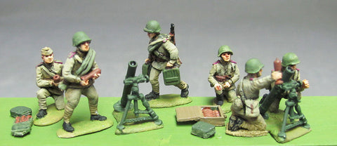 (INS27) Soviet, 82mm mortar setSoviet Infantry, Caps, rifles advancing- 8 figure set