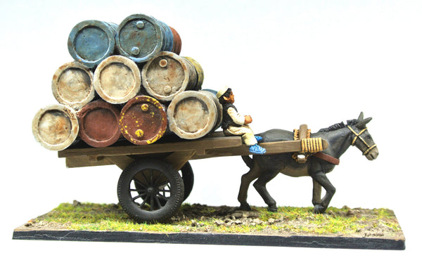 (100MOD084) Afghan Donkey Cart with Barrels