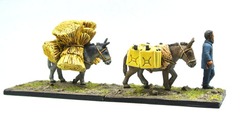 (100MOD086) Afghan Pack Train- 3 mules with baggage, two guides