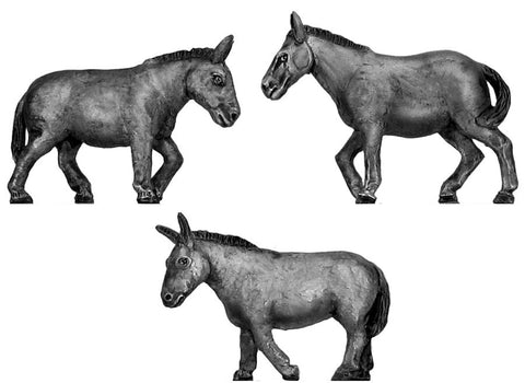 (100ANM13) Mules 3 figure set