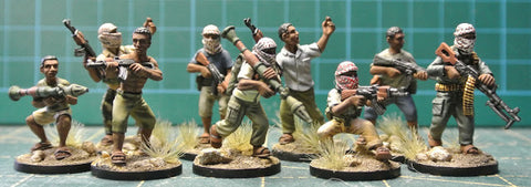 (100MOD212) 28mm Somali Gunmen Super Set