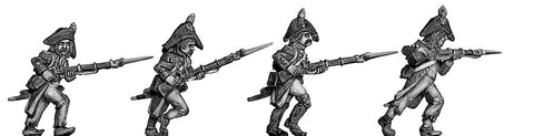 (100WFR027) Grenadier, bicorne, ragged campaign uniform, advancing