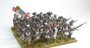 (100WFR06) French Bicorne Infantry Set Advancing in ragged uniforms