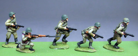(INS14) Soviet Infantry, Helmets, PPSh advancing- 8 figure setSoviet Infantry, Caps, rifles advancing- 8 figure set