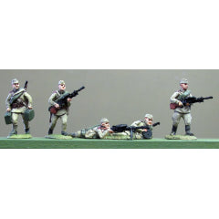 (INS04) Soviet Infantry, Caps, DP LMG crews moving & firing- 5 figure set