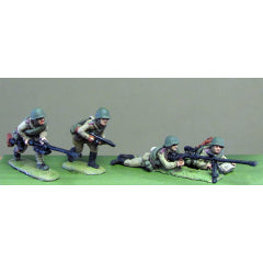 (INS18) Soviet, Helmet, PTRD A/T rifle set-4 figuresSoviet Infantry, Caps, rifles advancing- 8 figure set