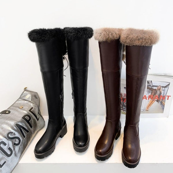 Rabbit Fur Over-The-Knee Boots