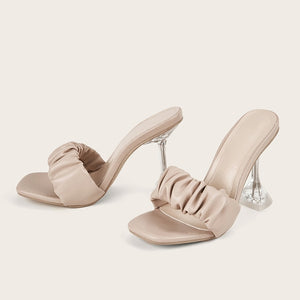 Transparent Crystal Heel Sandals Slippers