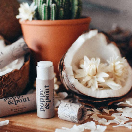 Island Coconut Lip Balm, Natural Hydrating Skin Care