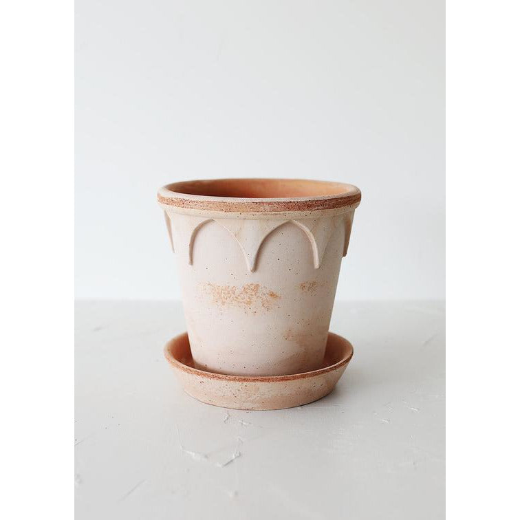 Antique Pink Terracotta Clay Pot and Saucer