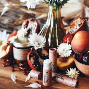 Pomegranate Peach Lip Balm, Natural Hydrating Skin Care