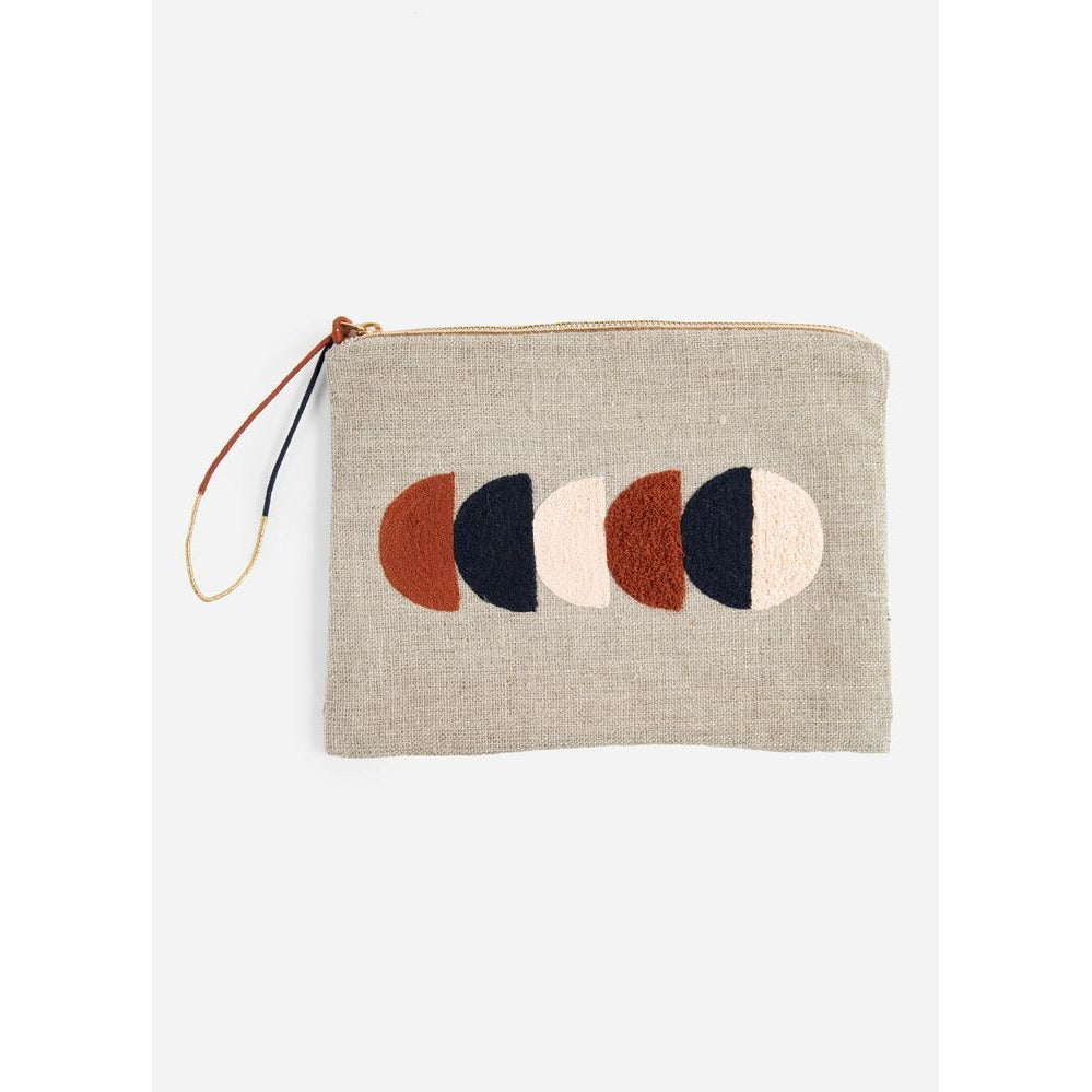 Circle Large Embroidered Linen Pouch