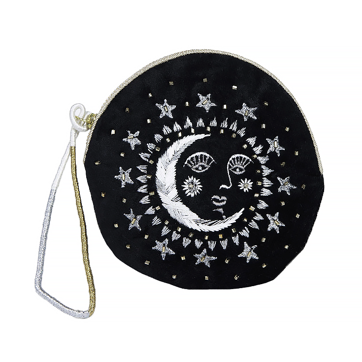 Moonface Embroidered Pouch