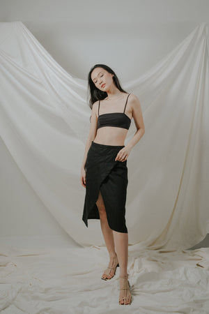Lucid Black Linen Skirt
