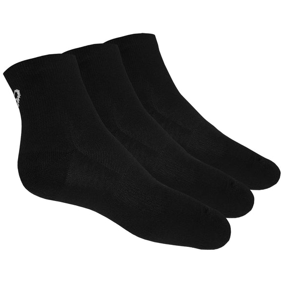 3 PAIRS OF ASICS QUARTER SOCKS (BLACK)