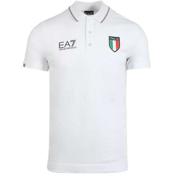 EA7 MEN'S ITALIA OFFICIAL TEAM POLO (WHITE)
