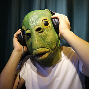 Sedaap Funny Cosplay Costume Unisex Adult Women Men Carnival Party Green Fish Head Mask