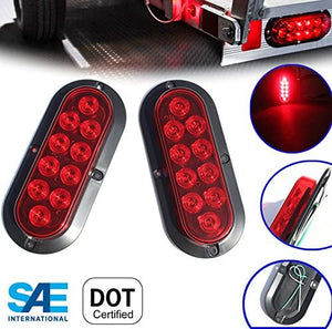 Red Oval Surface Mount LED Tail Lights-1