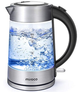 1.7L Stainless Steel Cordless Glass Kettle-1