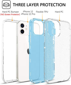 GUAGUA Compatible for iPhone 12/12 Pro Case 6.1-inch 5G Clear Glitter Bling 3 in 1 Hybrid Hard PC Soft TPU Bumper Cover Shockproof Protective Phone Cases for iPhone 12 Pro/12 2020 Translucent Blue