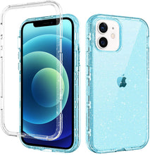Load image into Gallery viewer, GUAGUA Compatible for iPhone 12/12 Pro Case 6.1-inch 5G Clear Glitter Bling 3 in 1 Hybrid Hard PC Soft TPU Bumper Cover Shockproof Protective Phone Cases for iPhone 12 Pro/12 2020 Translucent Blue