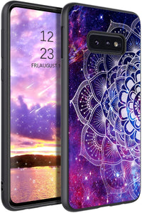 YINLAI Samsung Galaxy S10e Case Samsung S10e Phone Case Slim Fit Luminous Glow in Dark Mandala Shockproof Protective Hybrid Cover Soft Bumper Phone Case for Samsung Galaxy S10e,Purple/Space