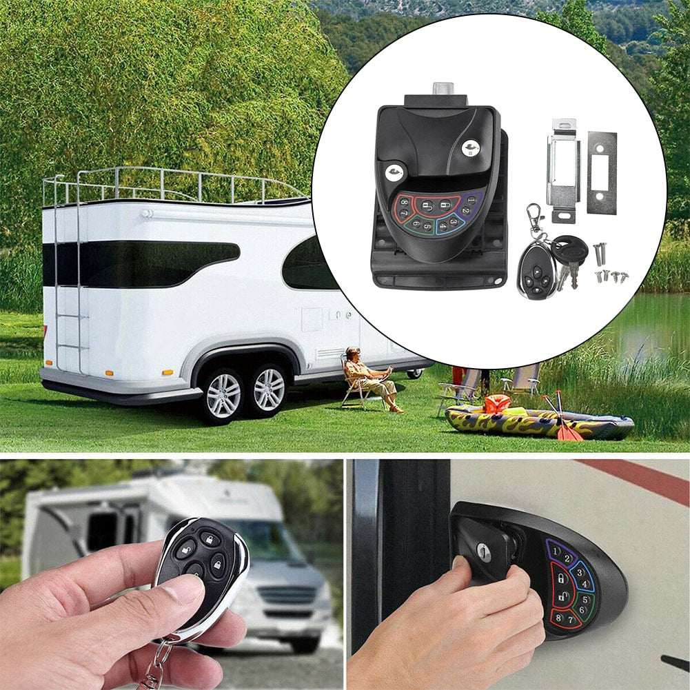 Black Remote-Control RV Keyless Entry Door Lock-15