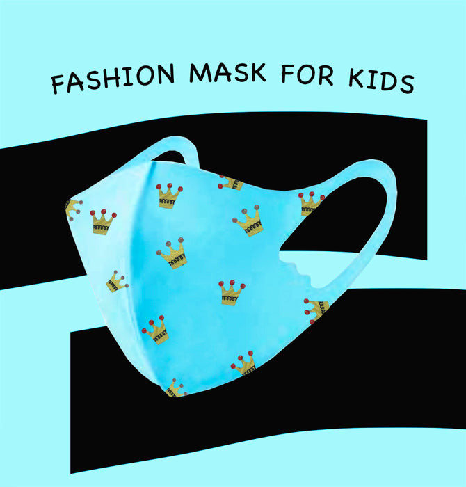 Fashion Mask For Kids (Reusable - Washable) - Blue with crowns